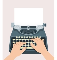 Retro manual typewriter with printing hands and vector