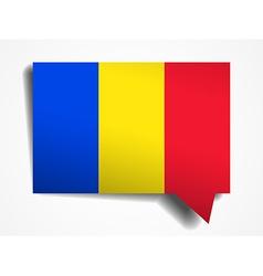 Romania flag paper 3d realistic speech bubble on vector