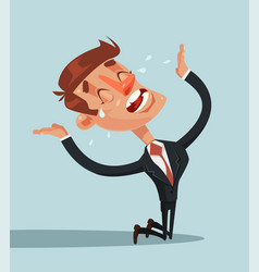 Sad unhappy screaming and crying businessman vector