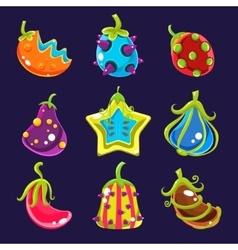 Set colorful fantasy fruits vector