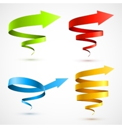 Set of colorful spiral arrows vector