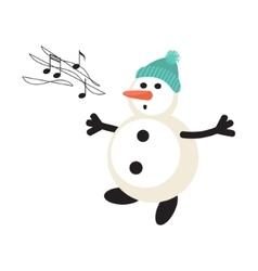Singing snowman cartoon icon vector image