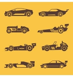 Sport race car black icons vector