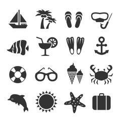 Summer vacation sea beach relax icons vector image