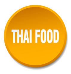 Thai food orange round flat isolated push button vector