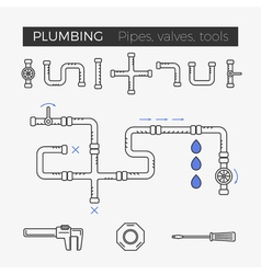 thin line icons of plumbing items vector image vector image