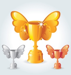 trophies with wings vector image