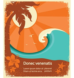 Tropical paradise retro poster for text vector
