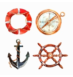 Watercolor Nautical Set vector image