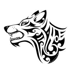 wolf tattoo shape vector image