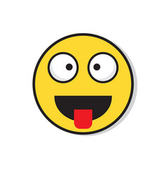 Yellow smiling face laughing positive people vector