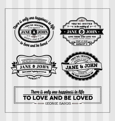 Wedding typography stamps vector
