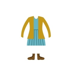 color silhouette with female clothing retro vector image