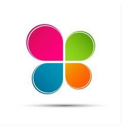 Abstract color logo in the shape of a cloverleaf vector