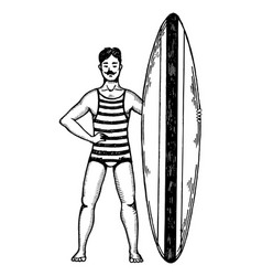 Old fashioned surfer engraving style vector