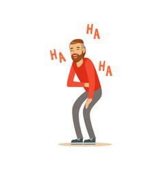 Happy bearded man laughing out loud and holding vector
