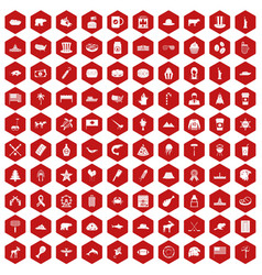 100 north america icons hexagon red vector