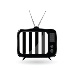 Old tv ith black and white line vector