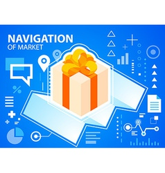 Bright navigate map and gift box with bow on vector