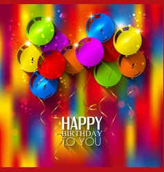 Birthday card with balloons and ribbons on vector