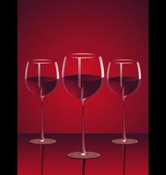 Glasses of red wine vector