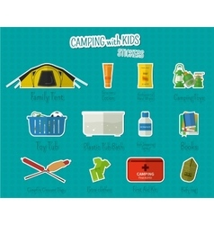 Camping with kids stickers and labels set of flat vector