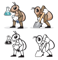 Ant profession chemist and farmer vector