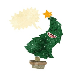 Cartoon dancing christmas tree with speech bubble vector