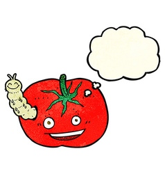 Cartoon tomato with bug with thought bubble vector