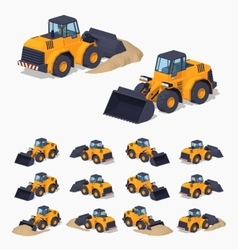 Yellow heavy bulldozer vector