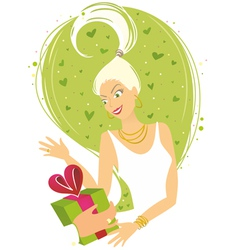 Woman receiving gift vector