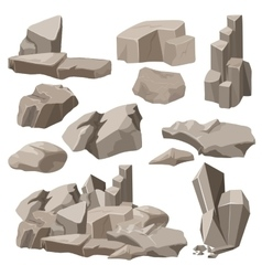 Rocks and stones elements collection set vector