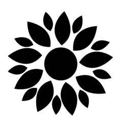 Black flower icon vector