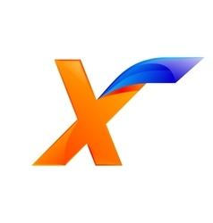 X letter blue and orange logo design fast speed vector