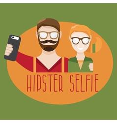 Hipster selfie concept flat design vector