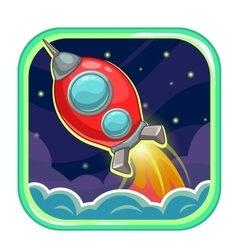 App icon with flying rocket ship vector