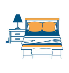 bedroom with lamp over nightstand color section vector image