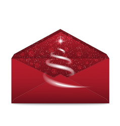 Christmas red envelope with star and blizzard vector