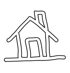 Contour house with chimney icon flat vector