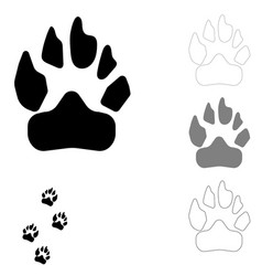 Dog footprint on the white background vector