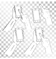 Drawn hand holding phone Finger on phone pressing vector image