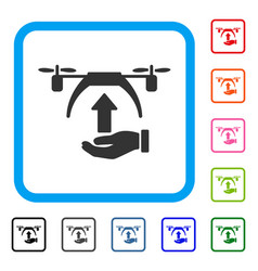 drone takeoff framed icon vector image vector image