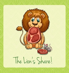 English idiom lions share vector