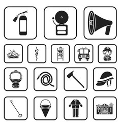 Fire department black icons in set collection for vector