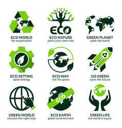 flat icon set for green eco planet vector image vector image