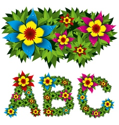 flowers alphabet 01 vector image vector image