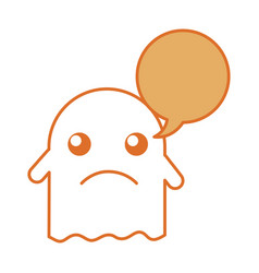 Ghost kawaii character with speech bubble vector