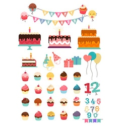 Happy birthday icon set vector