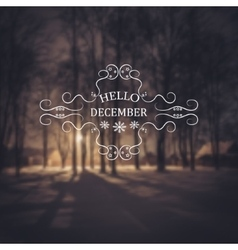Hello December Winter background vector image vector image