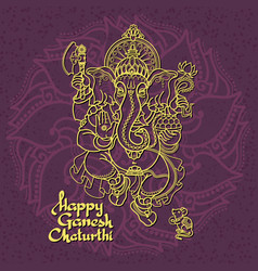 Hindu god ganesha hand drawn vector